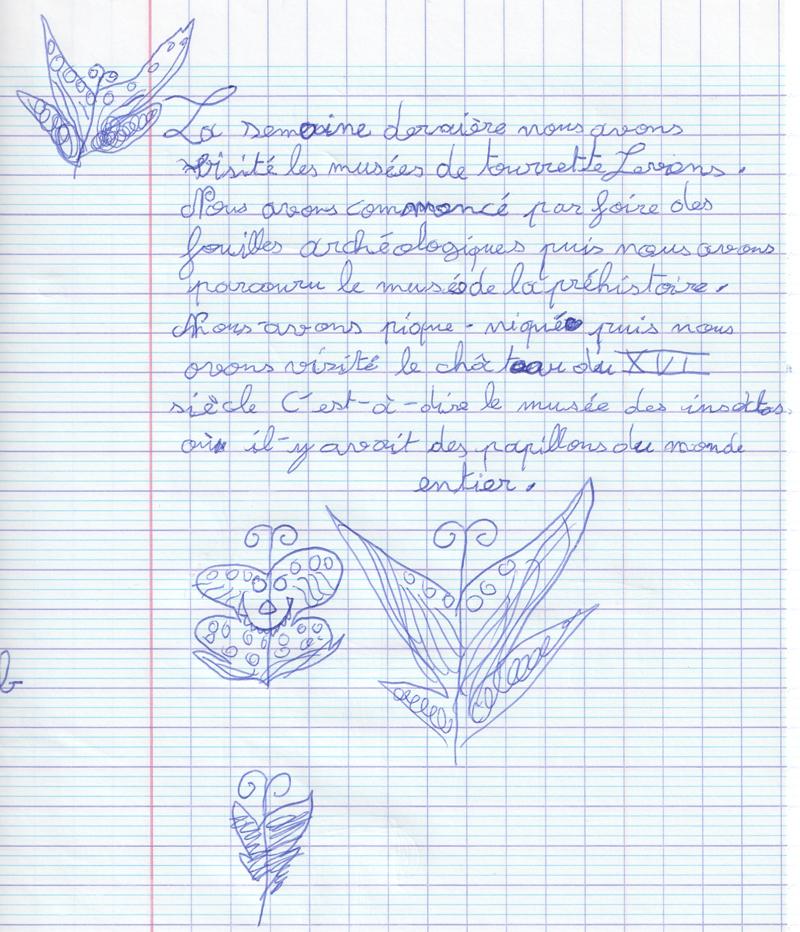 Compte-rendu rédigé par une enfant de l'association âgée de 7 ans